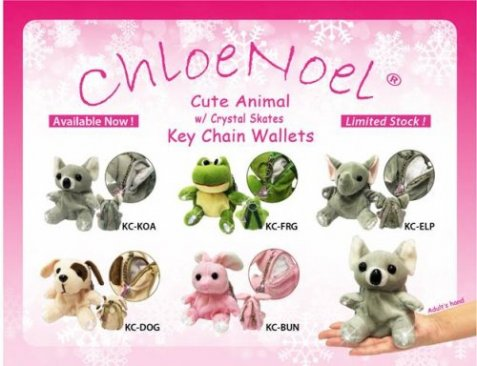 Anmal key chain wallets w crystal skates