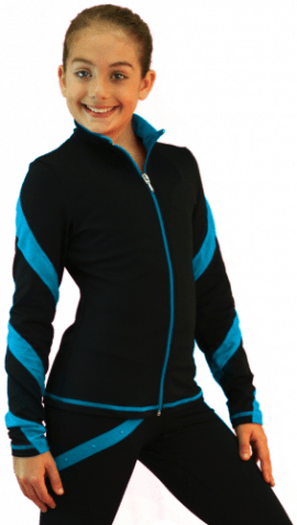 J636F Spiral jacket Turquoise Light Weight Fleece Jacket