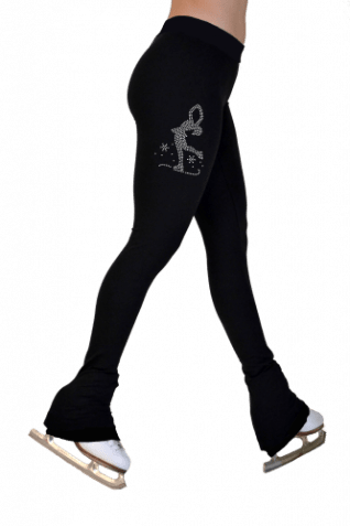 P622MLB Skate Spinner Lightweight fleece tights with swarovski print