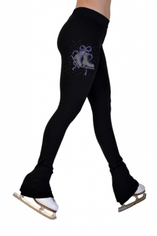 P622 BB/MRB Lightweight fleece tights with swarovski print