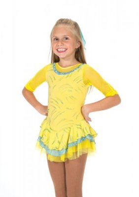Bring the joy inside out with this cheerful yellow dress! Elbow length mesh sleeves, a multi-layered skirt and a splash of aqua