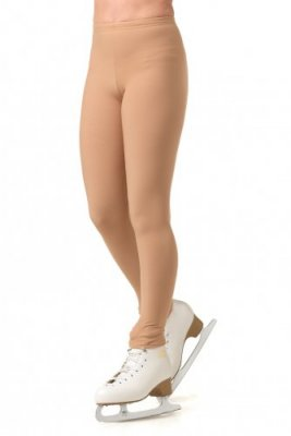 Fleeced tricot footless tights skin tone